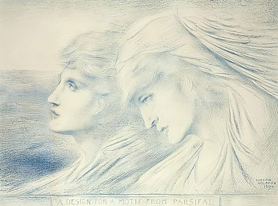 Simeon Solomon - A Design for a Motif from Parsifal 1894 (blue chalk on paper - (MeisterDrucke-304866)