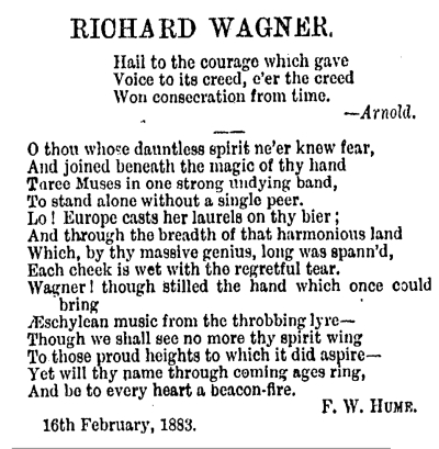 Hume NZ Wagner poem 1883